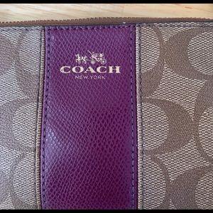 Coach Zip Wristlet Signature C PVC Leather Stripe